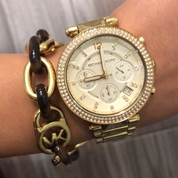 Michael Kors gold diamond watch & MK bracelet